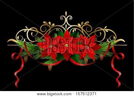 Christmas decoration with evergreen treess holly and pinecone and poinsettia and ribbon isolated