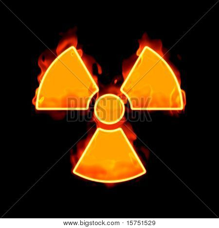 An image of a radioactive sign on fire