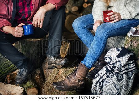People Friendship Camping Sawmill Relaxation Togetherness Concept