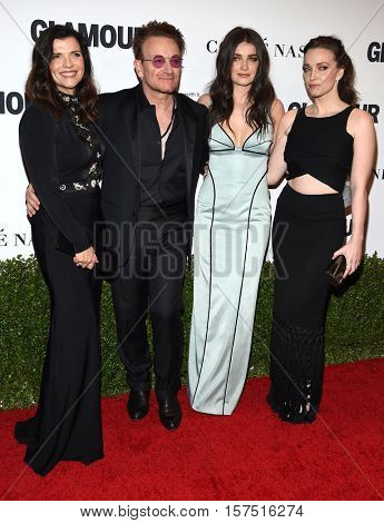 LOS ANGELES - NOV 14:  Bono, Ali Hewson, Eve Hewson and Jordan Hewson arrives to the Glamour Celebrates Women of the Year Awards 2016 on November 14, 2016 in Hollywood, CA