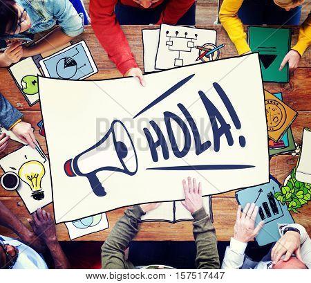 Bonjour Ciao Hola Hello Hi Greet Salute Concept