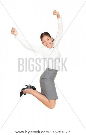 Success businesswoman jumping happy ecstatic celebrating with arms in the air. Fresh beautiful young casual mixed race Asian Caucasian business woman isolated on white background in full length.