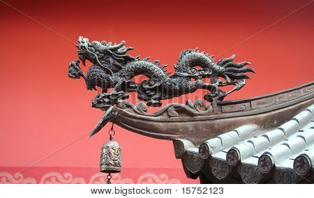 A noble roof dragon used to lure in prosperity into the temple