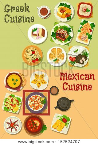 Mexican and greek cuisine icon with chilli bean, vegetable soup, meat stew, vegetable cheese and fish roe salad, corn and garlic bread, beef feta pie, dolma, eggplant roll, almond cake, bread pudding