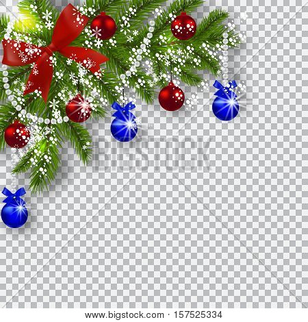 Christmas card. Green branches of a Christmas tree with blue, red balls and ribbon on a checker background. Corner with shadow and snowflakes. Christmas decorations. Vector illustration