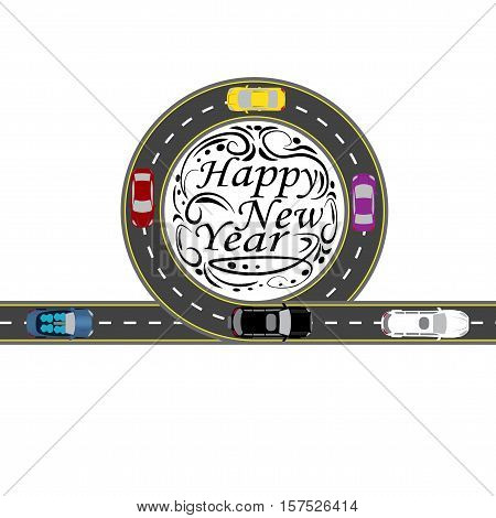 Road with a marking. Cars. Greeting inscription Happy New Year. Vector illustration