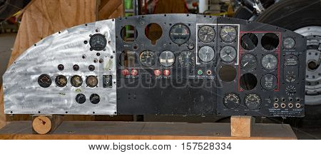 DAYTON, OHIO, USA - NOVEMBER 18, 2016: National Museum of the USAF is restoring the famous original WWII Memphis Belle B-17F Flying Fortress bomber whose instrument panel is shown here.