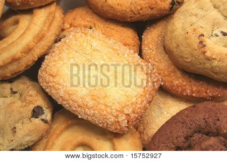 Assorted Cookies Variety Different Types Food Background