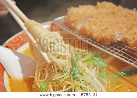 Ramen Noodles with Steaming Hot and Spicy Soup