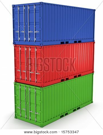 Three Freight Containers Stacked In A Tower Isolated