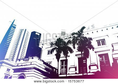 Purple Trendy and Modern City Life Abstract Background