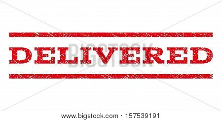 Delivered watermark stamp. Text caption between parallel lines with grunge design style. Rubber seal stamp with scratched texture. Vector red color ink imprint on a white background.