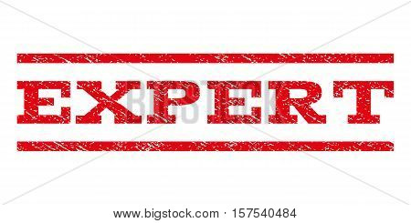 Expert watermark stamp. Text tag between parallel lines with grunge design style. Rubber seal stamp with dirty texture. Vector red color ink imprint on a white background.