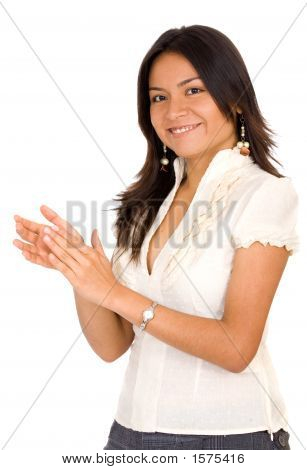 Business Woman Smiling And Applauding