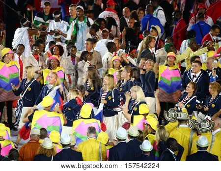RIO DE JANEIRO, BRAZIL - AUGUST 5, 2016: Russian federation Olympic team in the Rio 2016 Opening Ceremony at Maracana Stadium
