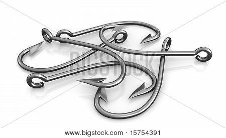 Few Steel Fishing Hooks Isolated