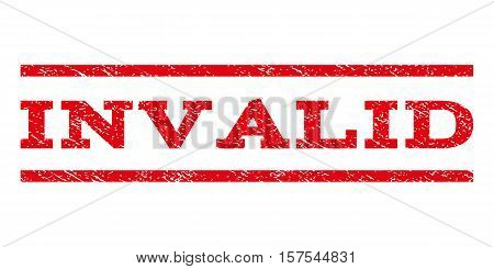 Invalid watermark stamp. Text tag between parallel lines with grunge design style. Rubber seal stamp with dirty texture. Vector red color ink imprint on a white background.