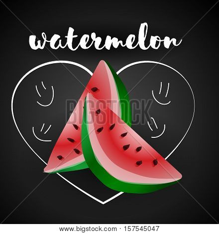 Watermelon Isolated, Watermelon Vector. Composition of Watermelon on white background. Watermelon icon, fruit set. Juicy Watermelon, Watermelon Slice. Fruit Composition for Packaging Juice, Yogurt.