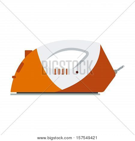 Orange iron isolated on white background - vector illustration. Flat icon logo electrical equipment ironing electric appliance home device housework tool