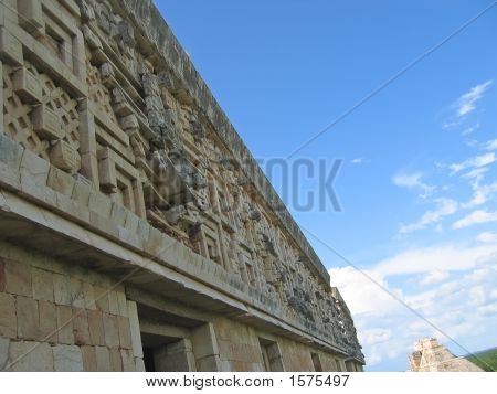 Top Of A Maya Temple With Rich Decoration, Uxmal, Mexico
