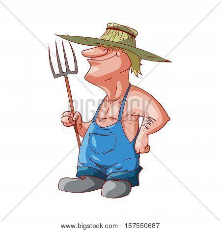 Colorful vector illustration of a cartoon farmer or redneck