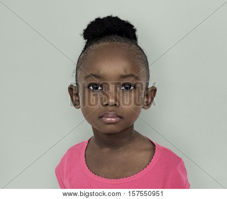 Young black girl sad facial expression