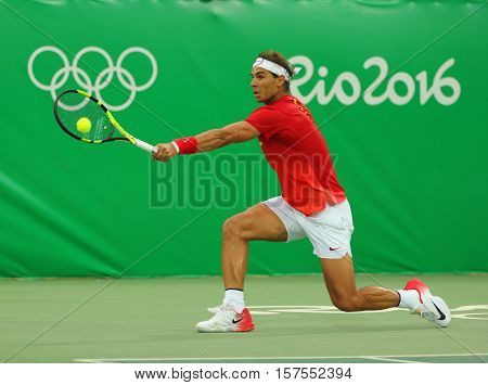 Olympic champion Rafael Nadal of Spain in action during men's singles first round match of the Rio 2016 Olympic Games