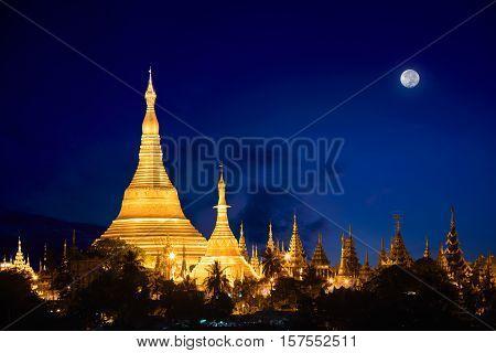 Shwedagon pagoda at dusk with nice sky, Yangon Myanmar
