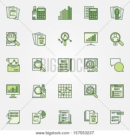 Audit green icons collection. Vector financial statement analysis colorful symbols. Business and financial creative signs
