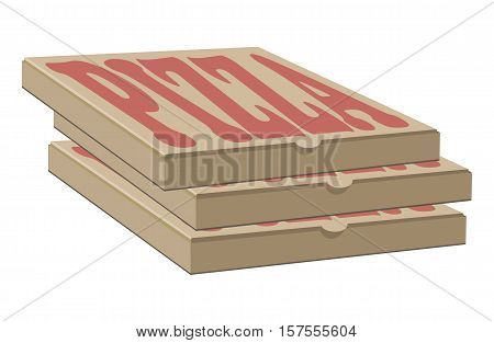 Stock vector design of three boxes for pizza. Box with layout elements. Craft paper cardboard and sign illustration