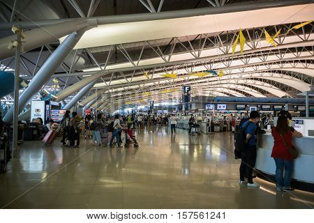 Osaka, Japan - November 2016: Architecture / interior of Kansai International Airport (KIX), Osaka, Japan. Kansai Airport is one of the busiest airports in Japan and an Asian hub, with 780 weekly flights to Asia and Australasia.