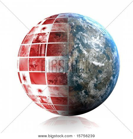 Global Panic in Red With Earth Globe