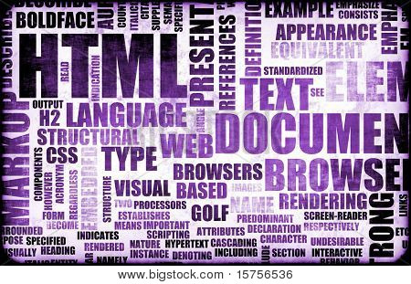 Purple HTML Script Code as a Background