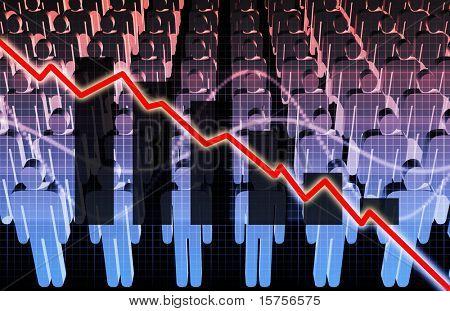 Economía inestable con un mercado de reducción de puestos de trabajo