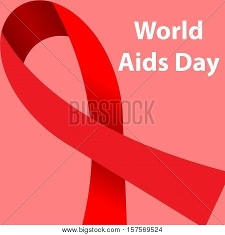 World AIDS Day concept poster with red ribbon of AIDS awareness symbol for solidarity with HIV-positive people Vector illustration.