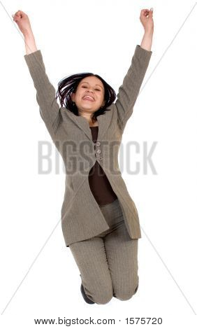 Business Woman Jumping In The Air