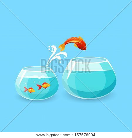 Ambition and challenge concept. Goldfish jumps into bigger empty aquarium. Desire to make life better. Fish escaping into empty bowl. New life, big opportunities. Flat style. Vector illustration.