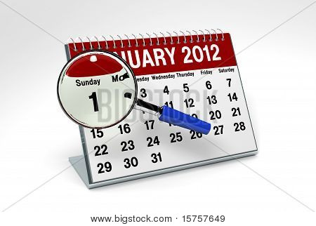 2012 January Calendar With Magnifying Glass