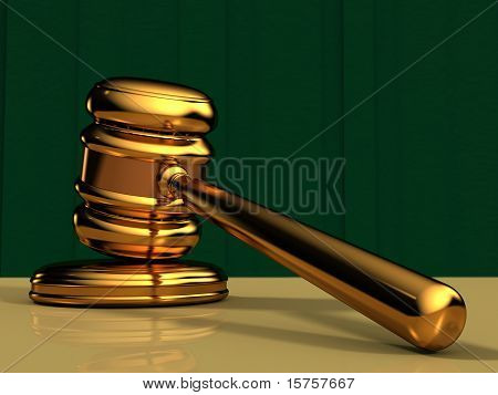 Golden Gavel With Green Background