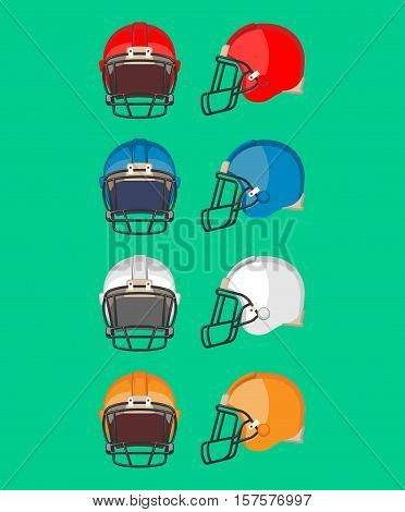 American football helmet set. Piece of protective equipment used mainly in American football and Canadian football. Sport helmets collection of different colors. Flat style design. Vector illustration