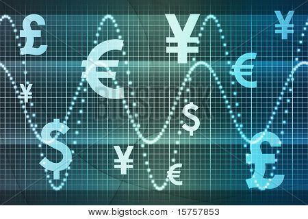 Blue World Currencies Business Abstract Background Wallpaper
