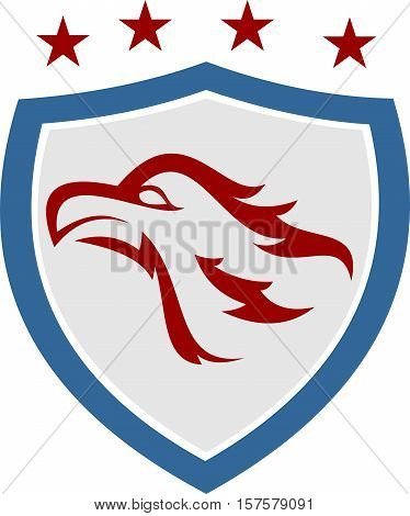 stock logo illustration eagle on blue shield with star