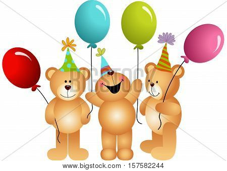 Scalable vectorial image representing a birthday teddy bears with balloons, isolated on white.