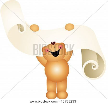Scalable vectorial image representing a teddy bear laughing with wish list on a parchment, isolated on white.