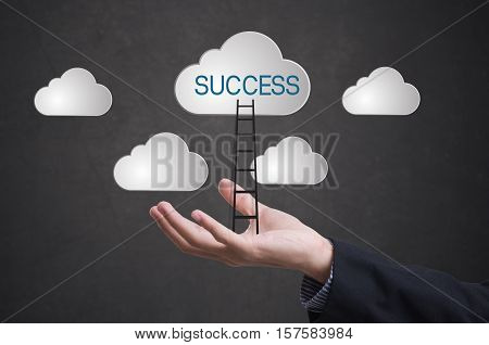 business hand with ladder conquer success on cloud. concept business successful leader creative.