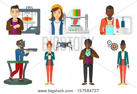 Engineer standing near 3D printer. 3D printer making a smartphone using recycled plastic bottles. Engineer working with 3D printer. Set of vector flat design illustrations isolated on white background