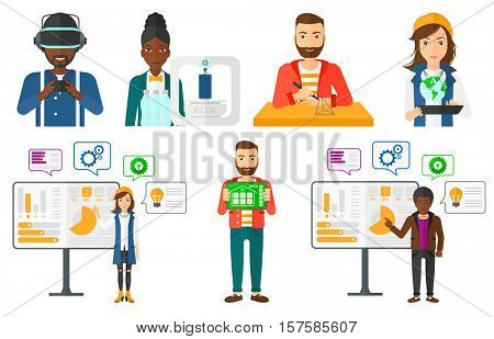 Engineer making a model with a 3D pen. Engineer drawing geometric shape by 3d pen. Man working with a 3d-pen. Man operating drone. Set of vector flat design illustrations isolated on white background.