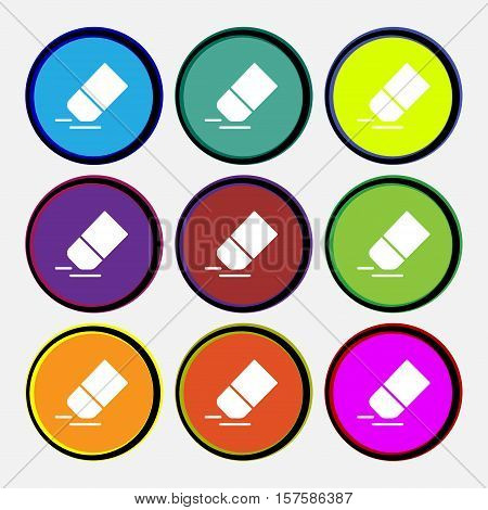Eraser, Rubber Icon Sign. Nine Multi Colored Round Buttons. Vector