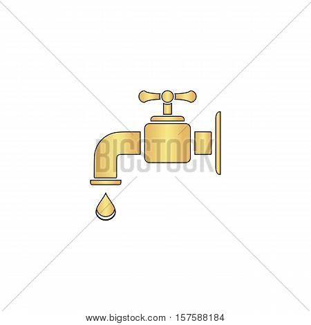 Faucet Gold vector icon with black contour line. Flat computer symbol