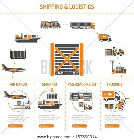 Shipping and logistics Concept infographics with Two Color Icons Set such as air cargo, trucking, ship, railroad freight. Isolated vector illustration.